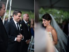 Groom seeing his bride walk down the aisle! Gorgeous photo! Meggie & Kevin's Hayfields Country Club wedding by Charlotte Jarrett Events