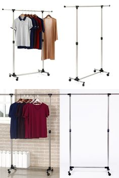 Why just one when you can hang multiple clothes together ? Check out this Movable Portable Clothes Rack which will add ease and mobility to your routine. Portable Clothes Rack, Clothes Racks, Organizing Your Home, Storage Solutions, Jet Set, Space Saving, Wardrobe Rack, Modeling, Routine