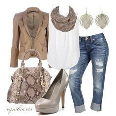 Jeans and a Blazer, created by cynthia335 on Polyvore