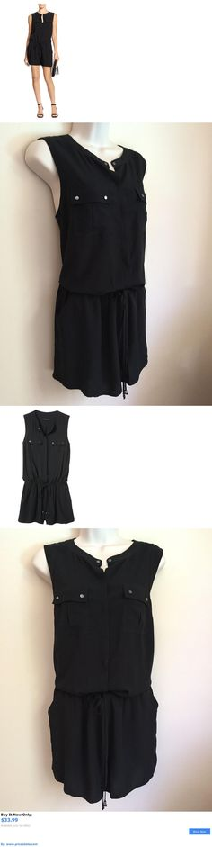 Jumpsuits And Rompers: Banana Republic Womens Sleeveless Black Utility Romper Size 14 BUY IT NOW ONLY: $33.99 #priceabateJumpsuitsAndRompers OR #priceabate