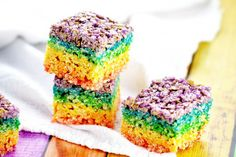 Rainbow Rice Krispie Treats For a no-bake dessert that takes only 30 minutes to make, The Gracious Wife's rainbow rice krispie treats are a must. Colorful and delicious, what's not to love?