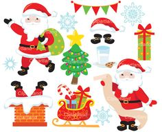 ON SALE INSTANT Download. Christmas Santa clip art. Ccs_5. Personal and commercial use.