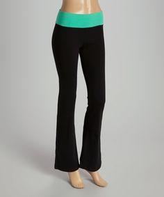 Love this POPULAR BASICS Black & Jade Yoga Pants by POPULAR BASICS on #zulily! #zulilyfinds
