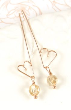 Love Earrings with Golden Shadow Beads rose gold