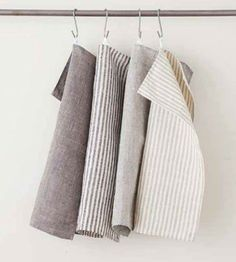 Fog Linen Navy Stripe Chambray Tea Towel