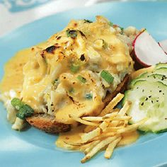 Oregon Hot Crab, crab and cheese sauce on open face sandwich