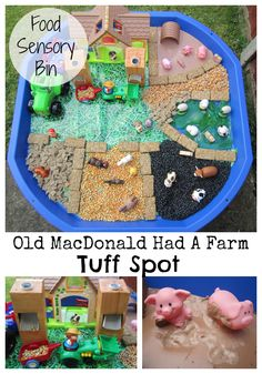 """It is our fortnightly and today's nursery rhyme is """"Old MacDonald Had A Farm"""". We couldn't resist creating an Old MacDonald's Farm Tuff Spot. Rhyming Activities, Farm Activities, Animal Activities, Infant Activities, Nursery Rhyme Activities, Kindergarten Activities, Tuff Spot, Baby Sensory, Sensory Bins"""