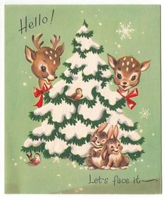 Vintage Greeting Card Christmas Cute Animals Deer Reindeer Bunny Rabbits