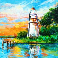 Madisonville Sunset,Tchefuncte Lighthouse Print or Canvas, Madisonville, Louisiana, Maritime Art, Louisiana Art by New Orleans Artist