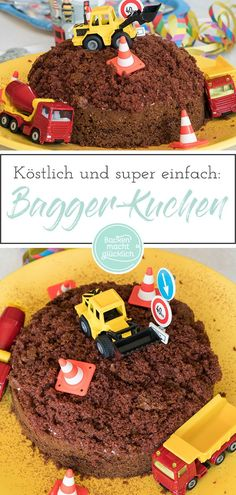 Einfache Baustellen-Torte This construction cake has everything a child's birthday cake needs to make small and big happy. The simple birthday cake tastes delicious, the Baustellenkuchen lo Easy Cake Recipes, Cookie Recipes, Excavator Cake, Baby Birthday Cakes, Coconut Macaroons, Cake Tasting, Food Cakes, Party Cakes, No Bake Cake
