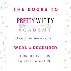As many of you may know Im a tutor for Pretty Witty Academy. So this news is very important for anyone who has been thinking about joining the academy but hasnt yet taken the plunge.  The doors are closing for joining the academy. Pretty Witty Academy is not closing they are just closing to new members so they can focus on creating even more cake and business content for the existing members.  As well as being a tutor Im also a fully immersed member of the academy. There are over 1000… How To Get, Math Equations, Pretty, Instagram Posts, Tutorials, Content, Doors, News, Twitter