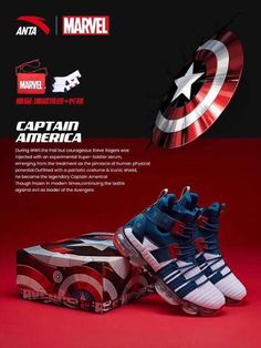 Anta Unveils Marvel Inspired Shoes Featuring Cap, Iron Man, Spider-Man and More. - The Fanboy SEO Buy Shoes, Nike Shoes, Patriotic Costumes, Basketball Shoes For Men, Super Soldier, Running Sneakers, Running Shoes, Childrens Shoes, Urban Outfits
