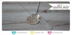 Collar con la fecha de nacimiento de tu pequeño (a) + piedra de rio. www.cuoremio.com.mx