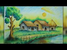 How to Paint Sunset Scenery with Oil Pastel - YouTube
