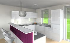 purple, white, shiny, 3D vizualization, rendering, kare design, interior design, elica