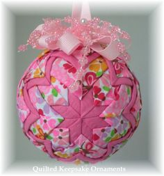 Seersucker fabric used for this pretty in pink quilted ornament with acrylic daisies.