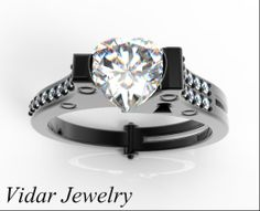 Black Gold Heart Handcuff Engagement Ring