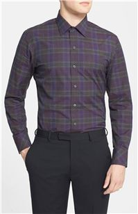 Zachary Prell - Estevez Standard Fit Plaid Sport Shirt: Olive is a terrific accent color, and pairs with dark purple effortlessly in this plaid shirt.