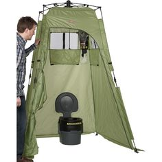 Camping, hunting can be wonderful. Where do you go to take a shower, change clothes or use the portable biffy? Pop up this shower/privacy shelter and you're good to go! Tall floorless tent sets up in 2 minutes to shield you from nosy campers & insects. Lightweight fabric shelter has 3 windows with flaps & a zip-close door for privacy or opened for ventilation. Includes 4 removable storage pockets, towel rack, shower head loop, tie-down cords, stakes and carrying case. 50in.W x 50in.D x…