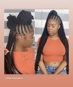 22 Inches 6 Packs Crochet Box Braids, 22 strands/pack, Usually 6 Packs can be full a head. 4 colors optional, box braids mediuim brown and black. Braided Hairstyles For Black Women Cornrows, Feed In Braids Hairstyles, Braids Hairstyles Pictures, Easy Hairstyle, Makeup Hairstyle, Protective Hairstyles, Protective Styles, Weave Hairstyles, Feed Braids