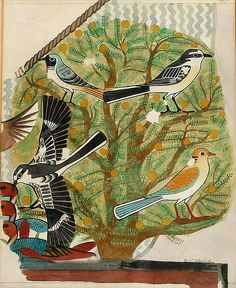 Facsimile in the EES collection of 'birds in Acacia' from the tomb of Khnumhotep II at Beni Hasan. Painted in 1891 by M W Blackden.