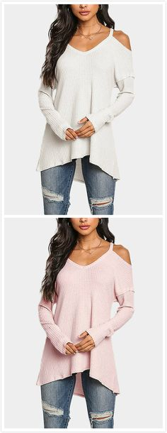 Basic and causal, this casual top is perfect for go out. With plain design and cold shoulder. Wear it with jeans would be great!
