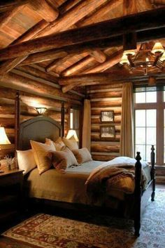Log cabin, 4 poster bed! Love it.
