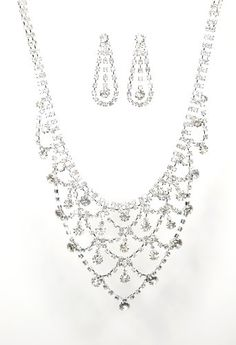 Head-turning New Jewelry Set – Bridal Formal Prom: Silver with Imported Crystal / Rhinestone