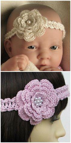 Crochet Baby Headband Patterns You'll Love - The WHOot Crochet Headband Free, Crochet Flower Headbands, Crochet Headband Pattern, Knitted Headband, Girl Headbands, Newborn Headbands, Baby Girl Crochet, Crochet Baby Clothes, Newborn Crochet