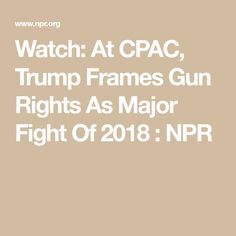"""""""They'll take away your Second Amendment,"""" the president said of Democrats at CPAC. Trump, like NRA leaders at the conference, framed gun rights as a major fight in the upcoming midterm elections. Gun Rights, Frames, Guns, Watch, Weapons, Clock, Frame, Pistols, Sniper Rifles"""