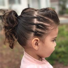 We're ready to rock today, ready for a concert or preschool, whatever happens at in the morning 😂 this is our edgy look, first time I… Girls Hairdos, Lil Girl Hairstyles, Princess Hairstyles, Pretty Hairstyles, Toddler Hairstyles, Sassy Haircuts, Edgy Hairstyles, Birthday Hairstyles, Amazing Hairstyles