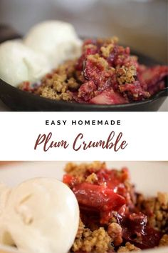 Easy plum crumble recipe perfect for any potluck. Travels very well and can be heated at your host's house. Serve warm with vanilla ice cream!  #plumcrumblerecipe #easyplumcrumble #summerdesserts #bestcrumblerecipes #entertainingwithbeth Easy Summer Desserts, Easy Summer Meals, Summer Dessert Recipes, Desserts For A Crowd, Food For A Crowd, Desert Recipes, Easy Meals, Dessert Ideas, Cobbler Topping