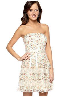 As U Wish Strapless Floral Tiered Dress with Lace - Possibly my grade graduation dress! Church Dresses, Dresses For Teens, Cute Dresses, Casual Dresses, Formal Dresses, 8th Grade Prom Dresses, 8th Grade Graduation Dresses, Lace Dress, Dress Up
