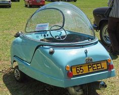 "It's a George Jetson car! ""The Peel Trident was the second three-wheeled microcar made by the Peel Engineering Company on the Isle of Man"" Microcar, Lambretta, Weird Cars, Smart Car, Cute Cars, Funny Cars, Pedal Cars, Unique Cars, Car Humor"
