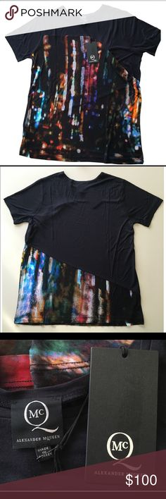 MCQ ALEXANDER MCQUEEN MULTICOLOR SHIRT This T-shirt has been my gift to myself last Birthday.  It's 100% RAYON. Bought it without trying while on the store. Then now about to wear it just to find out Im allergic to RAYON fabric. My lost your gain. It has a small pocket on the left chest but too shallow to put anything. It looks faded due to fabric material but when you take a selfie it will stand out just like in the picture . This shirt has a great illusion of multi colors. Considered Brand…