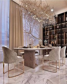 The way you decorate your home is somehow similar to choosing beautiful clothes to wear on a daily basis. An impressive interior decoration of your home or office is essential for your own state of mind, if nothing else. Elegant Dining Room, Luxury Dining Room, Home Room Design, Dining Room Design, Luxury Interior Design, Contemporary Decor, Modern House Design, Home Decor Inspiration, Design Inspiration