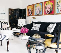 """I love this room!    """"Instead of being a dizzying mishmash of styles, the living room works because the colours are repeated"""". ~ Style at Home"""