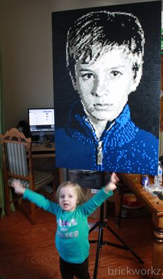"""""""Tyler"""" by Brian Korte. 8 colors. 13,800+ LEGO parts.   This Lego mosaic portrait was commissioned to be prominently displayed at a Bar Mitzvah in New York.  Working on this piece was of particular interest to us for a few reasons. We love when our mosaics are involved in such a major life milestone for our customers. Additionally, the original photograph was so dramatic, we knew it would make a great Lego mosaic portrait."""