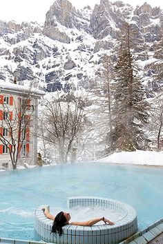 Hôtel Les Sources des Alpes. Hotel and restaurant in the mountains. Switzerland, Leukerbad. #relaischateaux #alpes #alps #spa