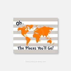 CANVAS Wall Art, Oh, the Places You'll Go, Dr. Seuss Kids Wall Art Orange Gray Navy, Playroom art 16x20, chevron on Etsy, $88.00