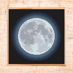 Moon Cross Stitch Pattern. Modern CelestialCross Stitch by MariBoriEmbroidery.etsy.com