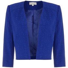 Linea Amelia textured jacket ($140) ❤ liked on Polyvore featuring outerwear, jackets, cobalt, women, blue cropped jacket, evening jackets, blue jackets, textured jacket and cropped jacket