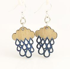 Rain Cloud Blossoms Wood Earrings by GreenTreeJewelry on Etsy