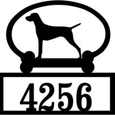 Sweeney Ridge Vizsla Custom House Number Sign