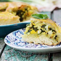 Tourte aux oignons Quiches, Spanakopita, Salmon Burgers, Baked Potato, Veggies, Pizza, Potatoes, Baking, Breakfast