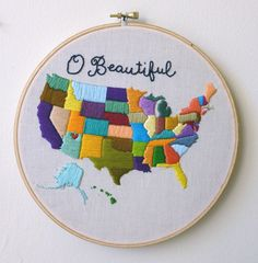 Hand Embroidered Map of USA Wall Hanging in Hoop. $94.00, via Etsy. Cute Idea and relatively easy just time consuming - and I'd do more of a monochomatic color scheme I think