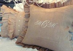 beautiful pillows ~ linen pillow with monogram and ruffled pillow with vintage buttons