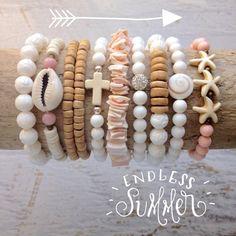 beachcomber beach boho style bracelet stack shells coastal style