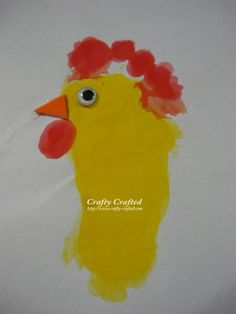 Footprint rooster-this would be cute for his b-day invites...I don't think I could get him to sit still long enough...