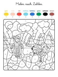 If your child has the whole motif on the free coloring page with the colors . Planner Stickers, Color By Numbers, Printable Christmas Cards, Christmas Gift Wrapping, Winter Colors, Free Coloring Pages, Watercolor Cards, Christmas Colors, Christmas Projects